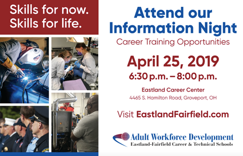 Adult Workforce Info Night Apr. 25 Graphic Promo